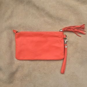 Neon Buttery Leather Wristlet Clutch BARNEYS NY